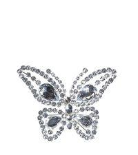 Weihnachtsanstecker Schmetterling auf Clip aus funkelnden Dekosteinen silber