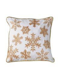 weihnachtliche Kissenhülle mit gold glitzernden Glitzerfäden und goldener Einfassung