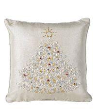 aufwändig verzierte Kissenhülle mit Weihnachtsbaummotiv in zartem Silber mit Glöckchen