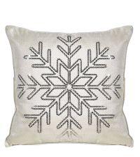 cremefarbene weihnachtliche Kissenhülle mit Schneeflocken-Motiv aus silbernen Pailletten