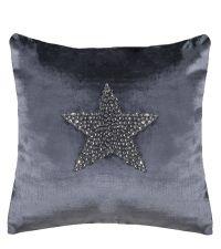 weihnachtliche Kissenhülle in Dunkelgrau mit Stern-Motiv aus Dekosteinen