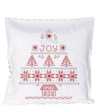Kissenhülle mit weihnachtlichem Stickmuster und karierter Rückseite rot-weiß