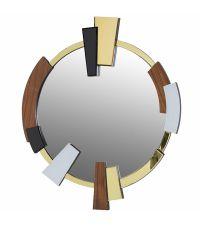 Spiegel im Retro-Style mit goldenem Rahmen - schwarzen weiß & Nuss