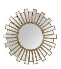 großer runder Spiegel im Art-Deco Stil mit matt goldenem Rahmen
