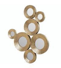 traumhafte Wanddekoration 7 runde Spiegel mit Metallrahmen gold