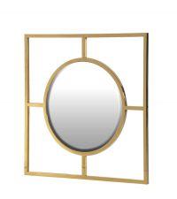 runder Spiegel im Art-Deco Style mit quadratischem Metallrahmen gold