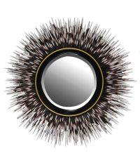 edler runder Spiegel mit schwarzem Stachelrahmen & gelber Einfassung