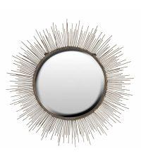 sonnenförmiger runder Wandspiegel aus Metall mit Stachelrahmen