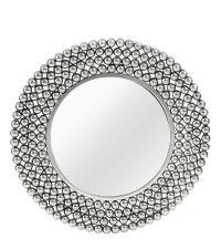 runder Wandspiegel mit breitem Rahmen aus Metallkugeln silber