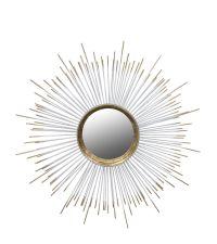 runder Wandspiegel mit Metallrahmen in Strahlenform weiß-gold
