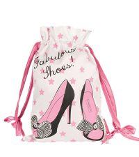 edler Schuhbeutel aus Satin mit Schuhaufdruck weiß mit pinken Sternen