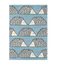 Scion Teppich SPIKE blau Wollteppich 90 x 150 cm 120 x 180 cm oder 140 x 200 cm