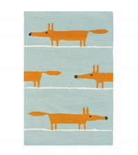 Scion Teppich MR FOX blau Wollteppich 90 x 150 cm 120 x 180 cm oder 140 x 200 cm