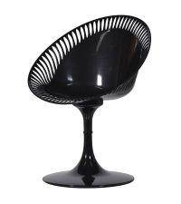 schwarzer Drehsessel, Drehstuhl aus Kunststoff mit Lochmuster