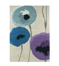 Sanderson Teppich Poppies Indigo/Purple 45705 Wollteppich 140 x 200 cm 170 x 240 cm oder 200 x 280 cm