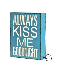 große Lightbox Goodnight aus Metall im Vintage-Style türkis