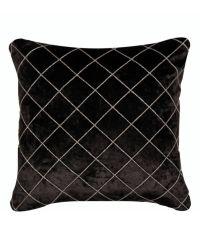 edles schwarzes Samtkissen mit Harlekin-Muster aus silberfarbenen Kordeln