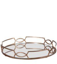 elegantes rundes Tablett aus Spiegelglas & Messing