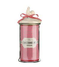 entzückende Aufbewahrungsdose aus Glas im Landhausstil mit rotem Karo-Muster und Schleife Größe XL
