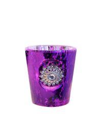 Teelichtglas in Antik-Optik mit großem funkelnden Dekostein violett