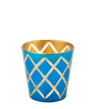 Lisbeth Dahl Teelichtglas mit Harlekin-Muster türkis