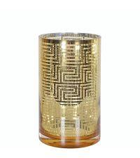 großes Windlicht Colette gold mit geometrischem Muster