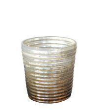 Teelichtglas bronze verlaufend mit Rillen klein