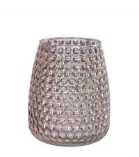 großes Teelichtglas schimmernd rosé mit Vertiefungen