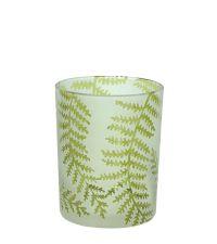 großes Teelichtglas mit Farnmuster grün