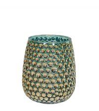 Teelichtglas schimmernd türkis & gold mit Vertiefungen