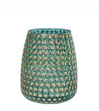großes Teelichtglas schimmernd türkis & gold mit Vertiefungen