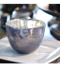 großes Teelichtglas oder Windlicht nachtblau in Antik-Optik