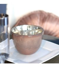großes Teelichtglas oder Windlicht taupe in Antik-Optik