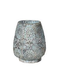 großer orientalischer Teelichthalter / Windlicht mit Lochmuster mint