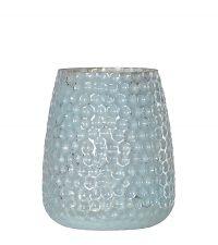 großes Teelichtglas schimmernd mintfarben mit Vertiefungen
