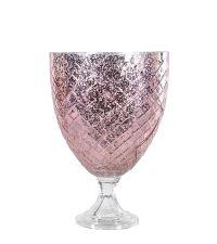 großes Windlicht in Antik-Optik mit Harlekin-Muster rosé