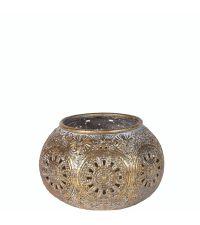 orientalischer Teelichthalter / Windlicht mit Lochmuster gold in Antik-Optik