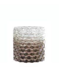 Windlicht aus getöntem Glas mit Farbverlauf & Wabenmuster taupe