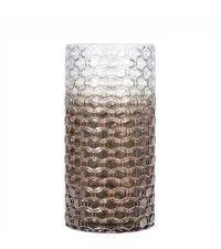 großes Windlicht aus getöntem Glas mit Farbverlauf & Wabenmuster taupe