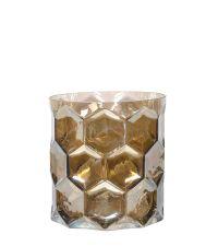 modernes Windlicht aus Glas mit erhabenem Wabenmuster taupe