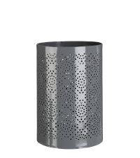 großer Teelichthalter mit geometrischem Lochmuster in grau