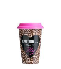 Kaffeebecher coffee to go aus Glas mit Leoprint Deckel pink