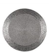 rundes Tischset mit schimmernden Perlen silber