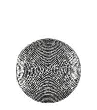 4er-Set runde Untersetzer mit schimmernden Perlen silber
