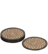 runde Untersetzer aus Glas mit geometrischem Muster schwarz / gold