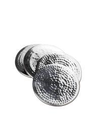 Untersetzer in Hammerschlag-Optik aus Metall silber