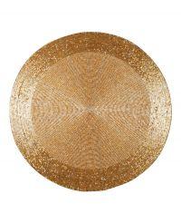 rundes Tischset mit schimmernden Perlen gold