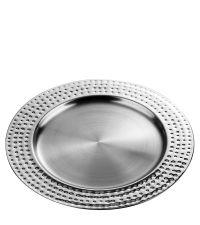 runder Platzteller oder Tablett aus Metall mit breitem Rand in Hammerschlag-Optik