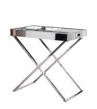 verspiegelter Tabletttisch mit gekreuzten Chromfüßen