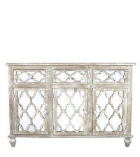 hohes rustikales Sideboard mit Spiegelfront & geometrischem Trellis-Muster